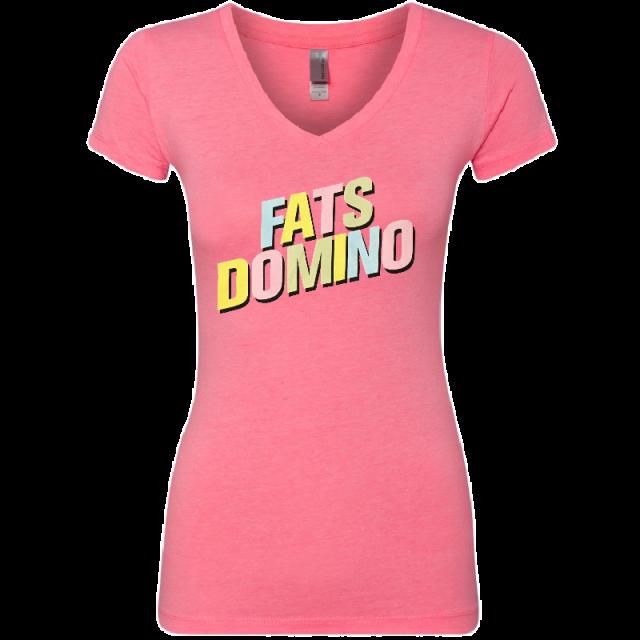 Fats Domino Ladies Heather Neon Pink Logo Tee
