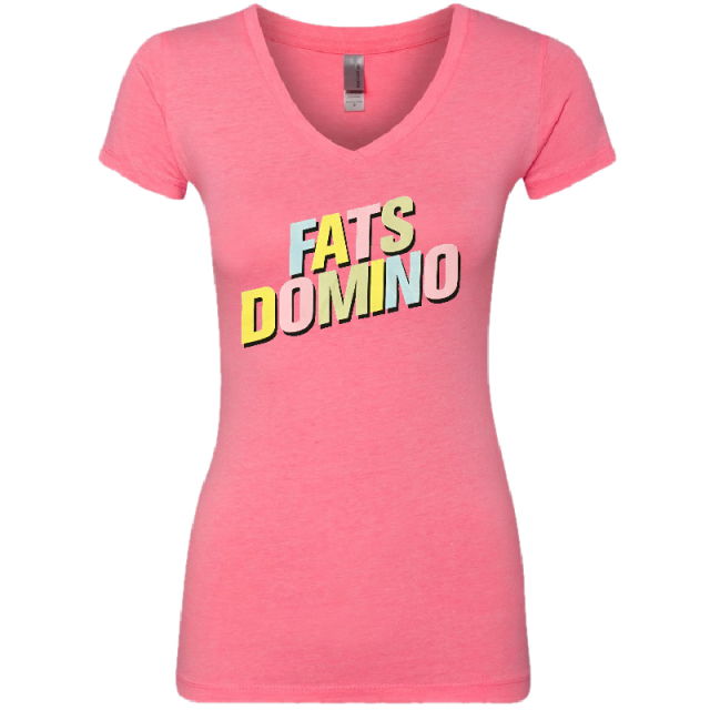 Fats Domino Ladies Heather Neon Pink Logo Tee